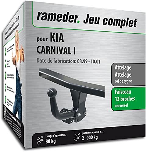 Rameder Pack, attelage démontable avec Outil + Faisceau 13 Broches Compatible avec KIA Carnival I (160999-04349-1-FR).