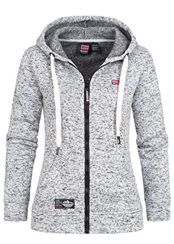 Geographical Norway Sudadera con capucha para mujer con cremallera y cordón de estilo canguro, bolsillos y emblemas blanco L