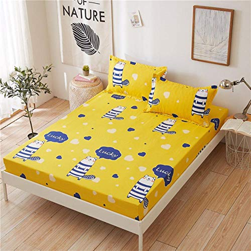 WTMLK 3pc Bed Sheet with Pillowcase Geometric Printed Fitted Sheet With Elastic Bed Linen Polyester Mattress Cover Queen Size,type 11,160x200cmx25cm
