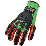 Ergodyne ProFlex 920 Nitrile-Dipped Impact-Reducing Work Gloves, Medium, Lime