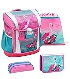 Belmil 404-20 Schulranzen Set 4 - teilig ergonomischer Schulranzen Größen verstellbar Mädchen 1. klasse 2. klasse 3. klasse - gepolsterter Hüftgurt und Brustgurt/Flamingo pink rosa (Pink Flamingo)