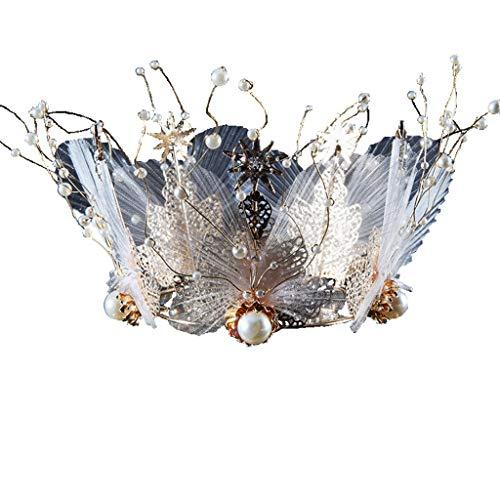 HSKB Zilveren kostuum, prinsessin Crown, hoofdband met kamstift voor meisjes en vrouwen, strass kristal bruid tiara