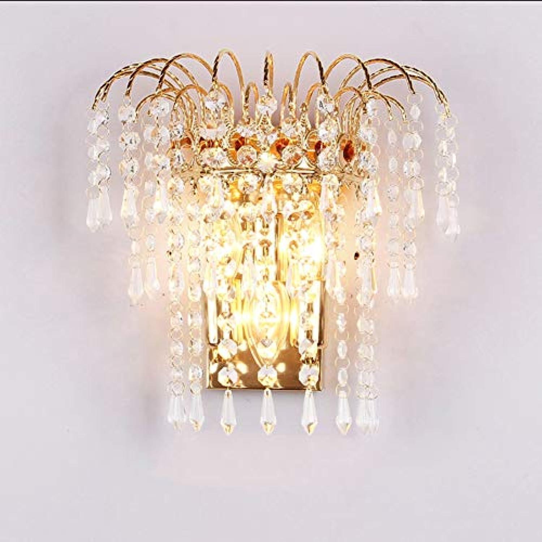 TopDeng Kristall Luxus Wandleuchte Wandleuchte E14, Modern Gold Halter Design Wandlampe Dekor Flur Bettleuchte Licht-3-Lichter 28x28x26cm