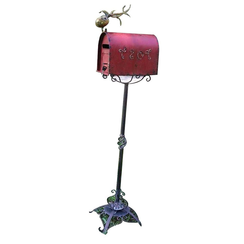 TINGTING 郵便受けア メールボックス ロック付き アメリカンレトロ農村アイアンアートフロアスタンドフォトスタジオウィンドウ写真を撮る (色 : Red, サイズ さいず : 142*43*33cm)