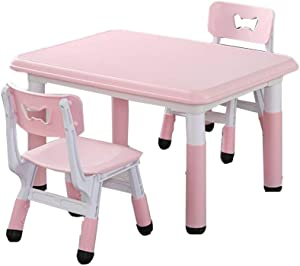 LIANGJUN Children s Table Stool Toddler Tables Chairs Adjustable Height Safety Plastic Activity Desk Game Dining Table  2-8 Years Old  Color Pink  Size
