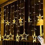 BLOOMWIN Guirnaldas Luminosas Estrellas Cortina Luces 2m x 1m 138 LED 12 Estrellas con Con...
