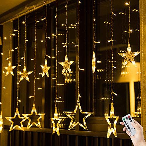 BLOOMWIN Guirnaldas Luminosas Estrellas Cortina Luces 2m x 1m 138 LED 12 Estrellas con Control Remoto 8 modos 5V USB Cadena Luces de Navidad para el Balcón, Ventana, Pared, Escaparate, Boda, Fiesta