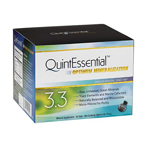 QuintEssential 3.3 - Concentrated Pure Seawater Electrolyte Liquid Minerals Supplement for Hydration, Muscle Recovery + Energy Support, Electrolyte Drink with Trace Minerals (30 Vials)