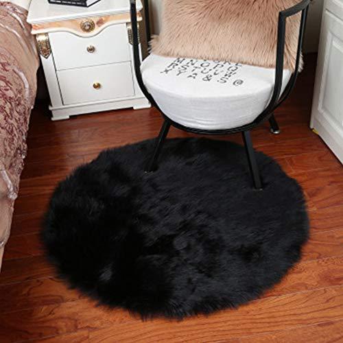 Runder Kunstfell-Teppich im Schaffell-Stil, rund, Kunstvlies, Stuhlbezug, Sitzpolster, weich, flauschig, zottelig, Teppiche für Schlafzimmer, Sofa, Boden, 3 Größen (50 x 50 cm, schwarz)