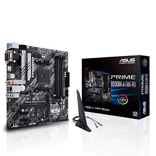 ASUS PRIME B550M-A (WI-FI), Scheda madre micro ATX AMD B550 (Ryzen AM4), dual M.2, PCIe 4.0, Intel® WiFi 6, 1 Gb Lan, HDMI/D-Sub/DVI, SATA 6 Gbps, USB 3.2 Gen 2 Type-A, Connettori RGB Aura Sync
