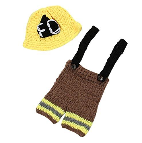 DELEY Unisexe Bébé au Crochet Héros des Pompiers en Uniforme, Costume de Bébé de Vêtements Tenue de Photo Accessoires de 0 à 6 Mois