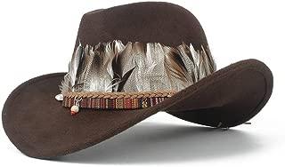 SHENTIANWEI Men Women Western Cowboy Hat with Feather Wide Brim Fascinator Hat Pop Sombrero Hat Winter Outdoor Church Jazz Hat