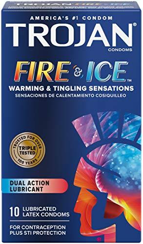 Trojan Pleasures Fire & Ice Premium Latex Condoms - 10 ct, Pack of 2