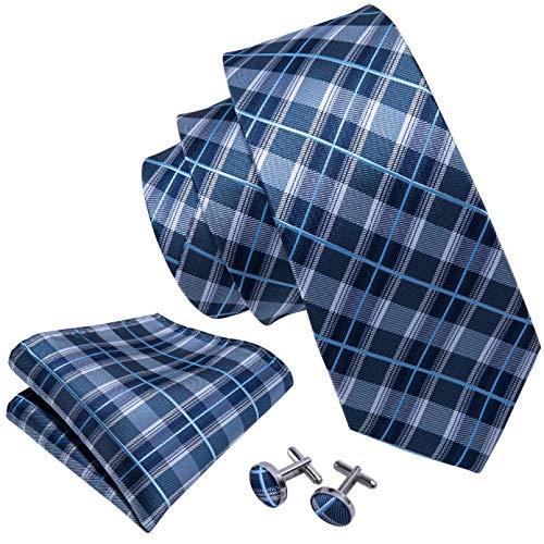 GPZFLGYN El regalo de los padrinos de boda del lazo de seda del 100% de la tela escocesa azul fija la corbata de los 8.5cm para los negocios de la boda de los hombres