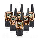 Midland T51VP3 22 Channel FRS Walkie Talkie - Up to 28 Mile Range Two-Way Radio - Orange/Black (Pack of 6)