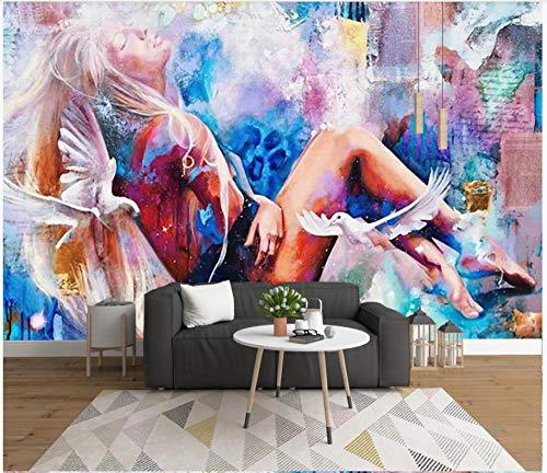 Papel tapiz fotográfico Martín pescador azul rojo anime girl 400x280 cm -8 pieces Lana Decoración De Pared Sala Cuarto Papel pintado tejido no tejido Decoración de Pared decorativos