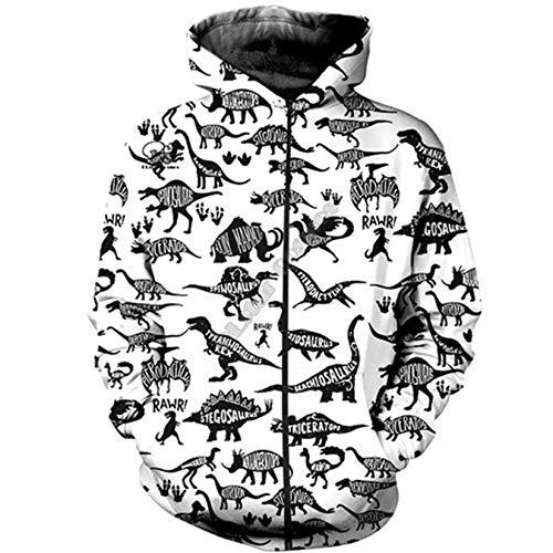 3D Full Print Unisex Harajuku Streetwear Dinosaurio Animal Camo Cremallera/Sudadera/Sudadera/Chaqueta Zip Hoodies 5XL