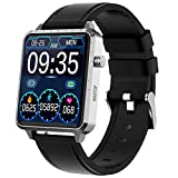 MAXTOP Smart Watch for Android iOS Phone Fitness Tracker with Music Control &Blood Pressure &Heart Rate Monitor Step&Calorie Counter&Sleep Tracker,Metal Shell(Silver)