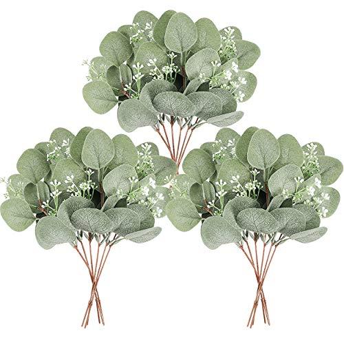 Homcomodar 12 ramas de eucalipto artificiales de hojas de eucalipto verdes de 29 cm, planta de eucalipto de plata a granel para boda, jardín, hogar, oficina, decoración interior y exterior