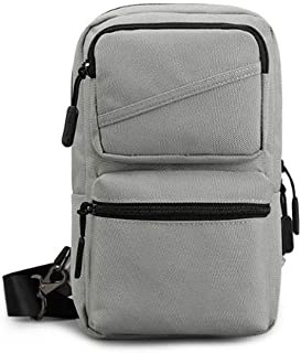 Men Shoulder Bag Casual Chest Bag Waterproof Women Pack Messenger Bag Crossbody Sling Bag (Color : Gray, Size : Small)