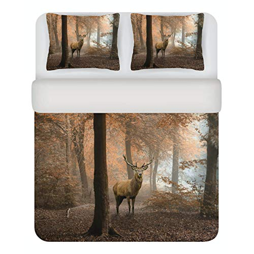 Kayori Bettwäsche Sognamo Deer Bunt Hirsch Wald Natur Tier Baumwolle, Größe:135 cm x 200 cm