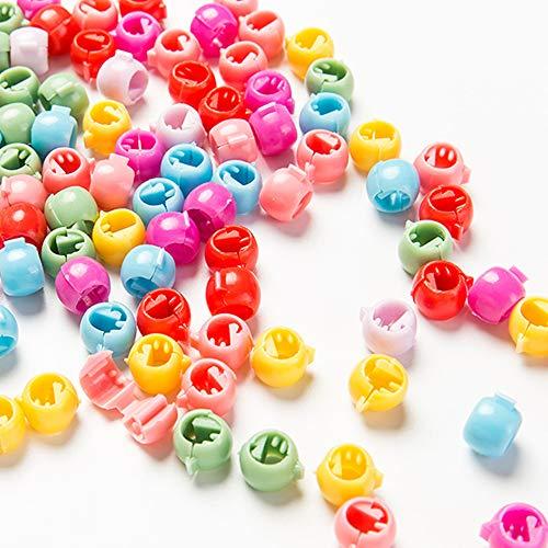 Hair Claw Clips Mini Hair Bangs 50 Piece Rainbow Beads Clip For Kids Girls Women Hanmei (Rainbow Opaque Mix)