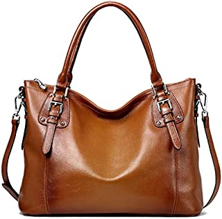 S-ZONE Women's Vintage Genuine Leather Tote Large Shoulder Bag with Outside Pocket