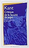 Critique de la faculté de juger - Flammarion - 17/01/2000