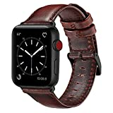 OUHENG Compatible with Apple Watch Band 42mm 44mm, Genuine Leather Band Replacement Compatible…