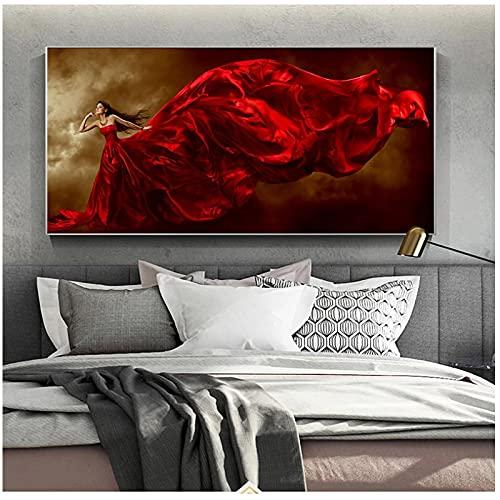 Póster de pintura en lienzo con vestido rojo e impresiones cuadros de arte de pared moderno Cuadros para decoración de sala de estar -50x100cm sin marco