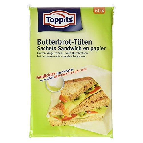 Toppits Butterbrot-Tüten Fettdichtes Spezialpapier, 60 Stück