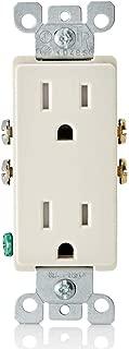 Leviton T5325-TMP 15-Amp 125V Tamper Resistant Decora Duplex Receptacle, 10 Pack, Light Almond
