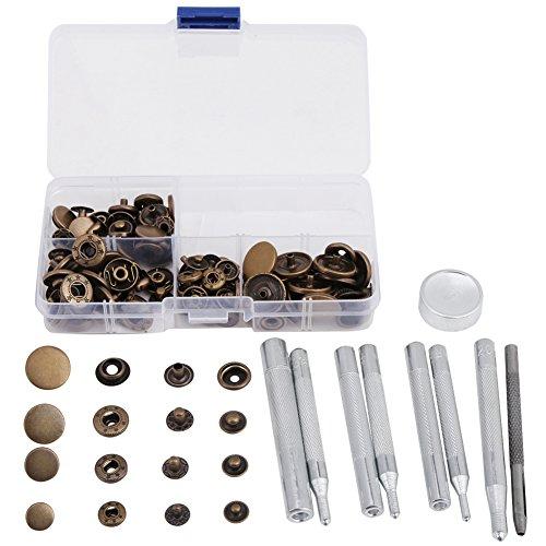 40 sets Kit de cierres a presión Remache de reparación rápida de cuero con herramienta de ajuste de 4 piezas para chaquetas de ropa Jeans usa bolsos(Color bronce)