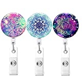 Retractable ID Badge Holder ID Badge Reels with Clip Retractable Badge Holder for Office W...