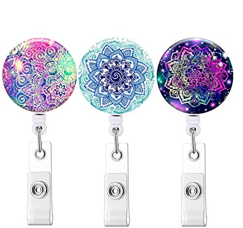 Retractable ID Badge Holder ID Badge Reels with Clip Retractable Badge Holder for Office Worker Doctor Nurse (Mandala 3 Pack)