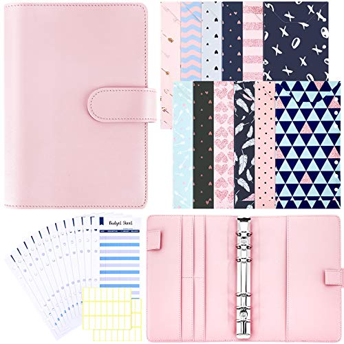Budget Cash Envelopes System A6 PU Leather Binder Cover 12 Pieces A6 Binder Cash Envelopes 12 Pieces Budget Planner Refills with 2 Sheets White Label Stickers for Planner Organizer (Pink)