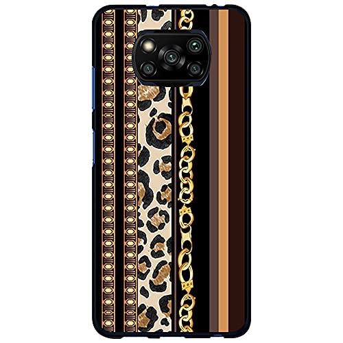 Funda Negra para [ Xiaomi Poco X3 / Poco X3 Pro ], Carcasa de Silicona Flexible TPU, diseño : Estampado Dorado de Pulsera y Leopardo
