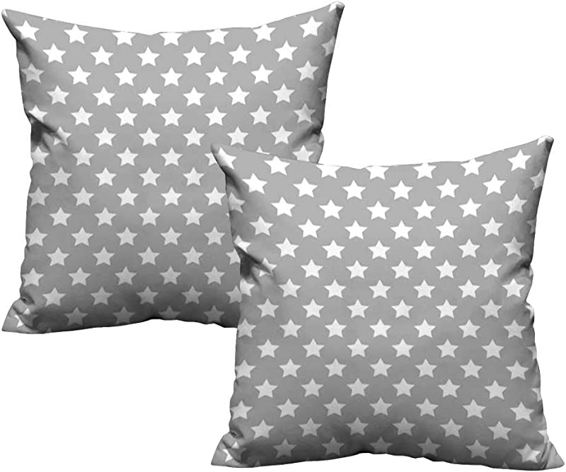 Plush Pillowcase Star Big Stars Pattern Monochrome Artful Modern Baby Nursery Design Starry Night Themed Grey White 20 X 20 Wrinkle Fade Stain Resistant