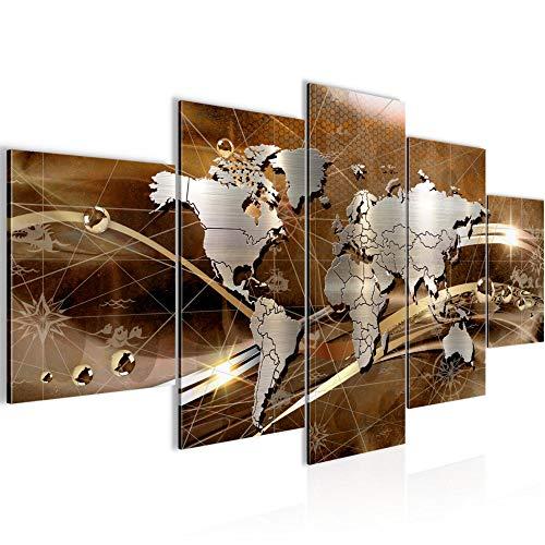 Bilder Weltkarte World Map Wandbild 200 x 100 cm Vlies - Leinwand Bild XXL Format Wandbilder Wohnzimmer Wohnung Deko Kunstdrucke Braun 5 Teilig - MADE IN GERMANY - Fertig zum Aufhängen 106851b