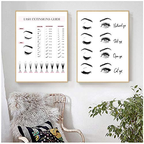 opqo Canvas Painting Lash Extensions Guide Posters and Prints Makeup Wall Art Picture Decor Eyelash Business Form 16×24inch(40×60cm)×2pcs NO Frame