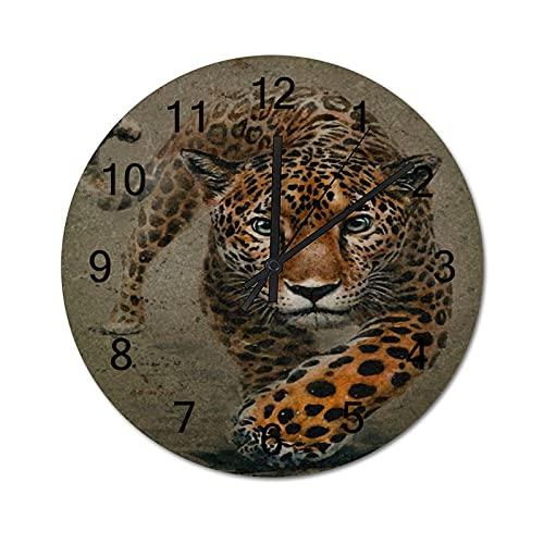 Reloj de Pared Vintage,Fondo Jaguar Animales Acuarela,Relojes de Pared de Madera silenciosos Que no Hacen tictac,Reloj de Pared rústico de Granja para la decoración del Dormitorio de la Sala de Estar