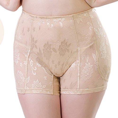 Aivtalk Mujer Bragas Braguitas Briefs sin Costuras con Relleno Embellecer Lateral Cadera Calzones Lucir Palmito Lencería - Carne Talla XL