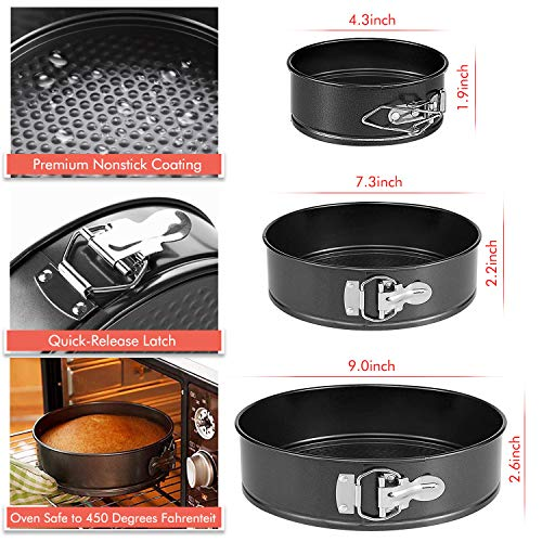 Cake Tin Set, Omew Quick Release Springform Cake Tin 4''/7''/9'' Round Non-Stick Cake Pan Bake Tray Tins with Loose Base (Spatula, Oil Brush Included)