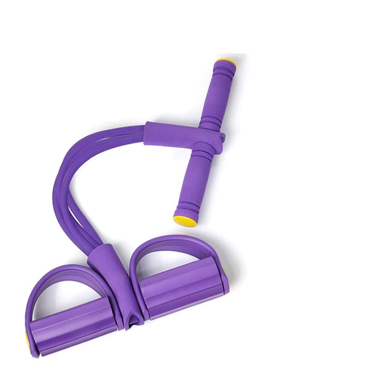 コード太字第四抵抗バンド装置シットアッププラー、減量ウエスト腹部ヨガトレーニング整形練習腕/脚/肩/腹部オフィスエクササイズ,Purple