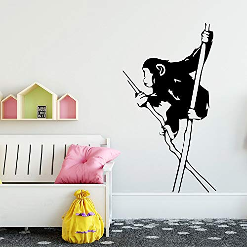 Pegatinas de pared de mono pequeño creativas y personalizadas pegatinas de decoración de la habitación de los niños calcomanías de arte de pared para sala de estar A3 58x103cm