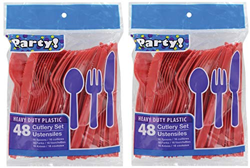 Heavy Duty Plastic Cutlery Set in Red- 32 Spoons, 32 Forks, 32 Knives
