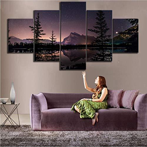 abstrakte 5 Stücke HD Gedruckt Kanada Banff Nationalpark Vermilion See Sternennacht Landschaft Leinwand Malerei für Wohnkultur Wandkunst Wohnzimmer