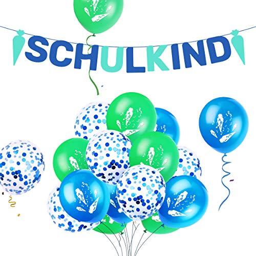 iZoeL Deko Einschulung Junge Blau Girlande Schulkind + 15 Luftballon Schulanfang Dekoration Schulstart (blau Girlande für Junge)