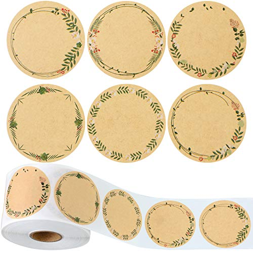 Sabary 600 Pieces Label Stickers Floral Natural Brown Kraft Stickers for Mason Jars and Lids Labels, Pantry Labels, Present Sticker Labels, Canning Labels, Bottle Labels, Spice Labels, 6 Designs