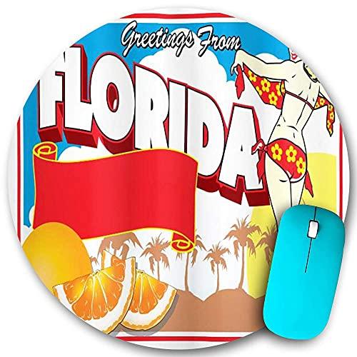 Runder Mauspad Rutschfester Gummi, Florida Grüße aus Florida Postkarten-Design mit einem Pin-Up-Girl im Bikini und Orangen Mehrfarbige, wasserdichte, haltbare Büro-Desktops Persönlichkeit 7,9 'x 7,9'